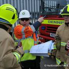 Fire crews liaise during an emergency exercise. Picture: Herts Fire and Rescue Service
