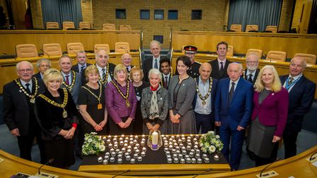 Dignitaries gathered for the Holocaust Memorial Day Service at Stevenage Borough Council's headquart