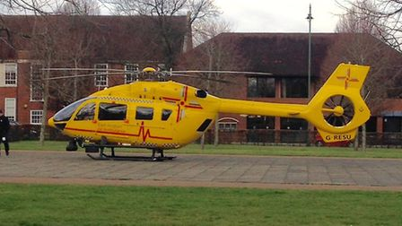 The air ambulance landed in Letchworth town centre. Picture: Steve Brewer