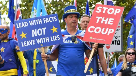 Steve Bray with anti-Brexit protesters in Westminster. Photograph: Dominic Lipinski/PA.