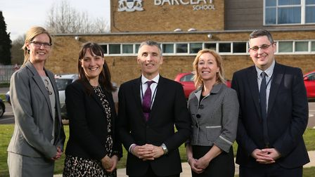 Mark Allchorn, pictured in the centre when joining The Barclay School to head up a new senior leader