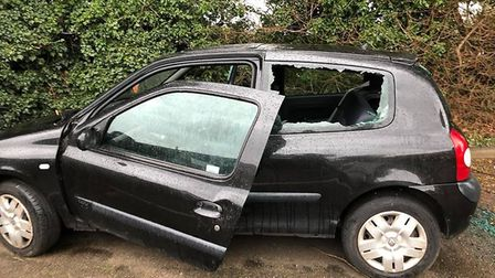 The damaged Renault Clio in Ickleford.