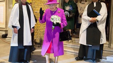 The Queen at the Scripture Union 150th-anniversary service at St Mary's Church in Islington. Picture
