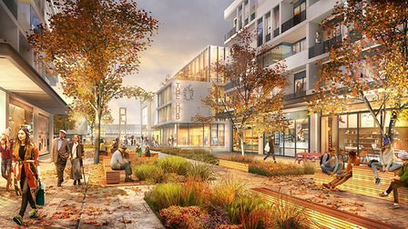 An artist's impression of he central section of the new development running from Town Square in the