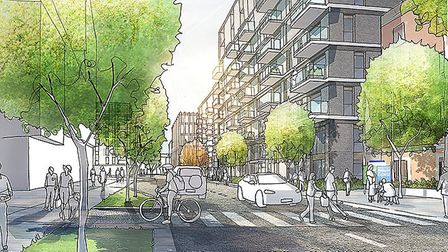 An artist's impression of what a section of the new development could look like. Picture: Mace Group