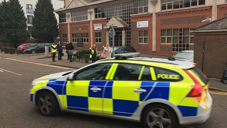The scene earlier today, when the Comet and Lloyds staff were evacuated. Picture: Archant