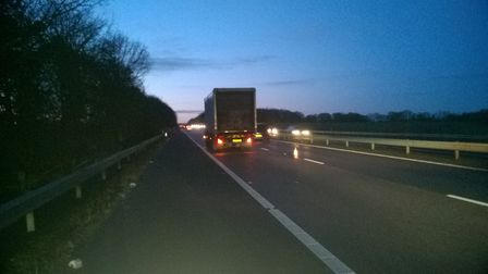 The lorry blocking the inside lane on the A1(M)'s southbound carriageway between Stevenage and Welwy