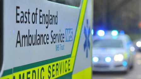 Paramedics rushed to the scene after two cars were involved in a crash on the edge of Stevenage.