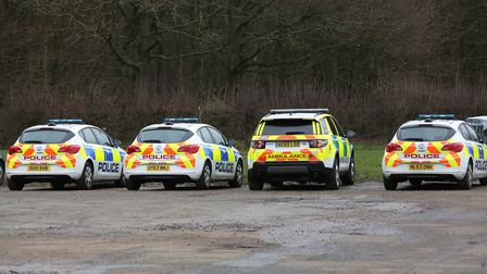 Police attended woods at Fairlands Valley Showground on Monday. Picture: Danny Loo
