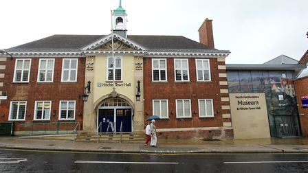 Hitchin Town Hall and the building intended as the North Hertfordshire Museum entrance at 14/15 Bran