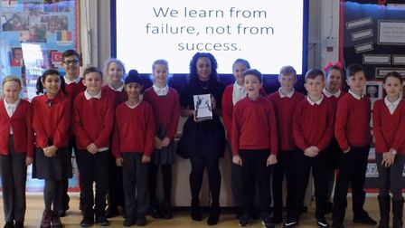 Author Charlene Shaw returned to her former school, Broom Barns Primary School in Stevenage, to insp