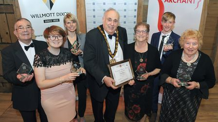 North Herts District Council chairman Alan Millard (centre) with volunteer awards winners (left to r