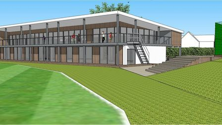 An artist's impression of what the new clubhouse at Lucas Lane will look like. Picture: Hitchin Town