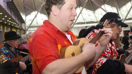 Sandy Ukulele Group performed at Kings Cross. Picture: Sandy Good Neighbours