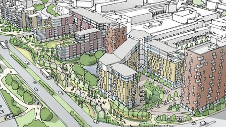 An artist's impression of what part of the new Stevenage development coudl look like. Picture: Steve