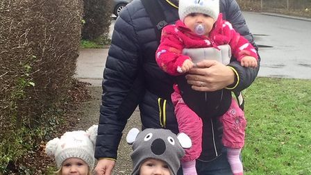 Natalie's husband Lee Lawrence with their older children - Molly, Bobbi and Max. Picture: Natalie La
