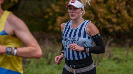 Natalie Lawrence (nee Barnard) running for Stevenage club Fairlands Valley Spartans while 34 weeks