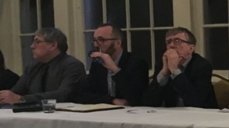 Former Comet editor Darren Isted in the chair at the Hitchin Town Hall 'crisis meeting' at The Sun H