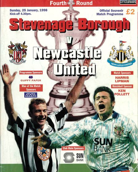 The match programme from Stevenage Borough's 1-1 FA Cup draw with Newcastle United on January 25, 19