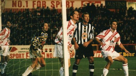 Alan Shearer in action during the game. Picture: The Comet