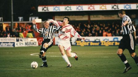 Match action during the Stevenage Borough vs Newcastle United FA Cup tie at Broadhall Way in 1998. P