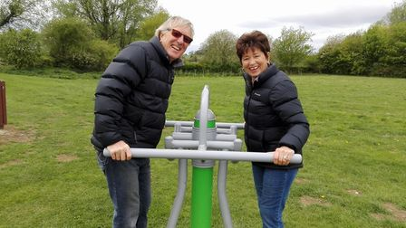 Sandy, with her husband, at a park in Shefford. Picture: Worldwide Cancer Research