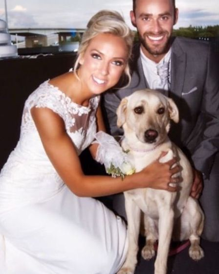 Lauren and Gary Dongray with their dog Gizmo. Picture: Lauren Dongray.