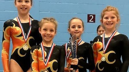 Whitehill Junior School gymnasts Isobel Dean, Isabelle Wright, Freya Willoughby and Lily Manning. Pi