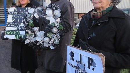 Members of Save the World's First Garden City held a mock funeral outside the Icknield Centre where