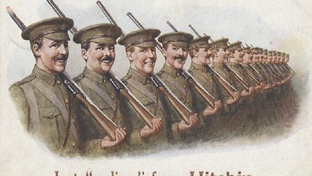 A postcard from the First World War, celebrating Hitchin's contribution to the fighting effort. Pict