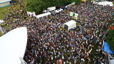 Daniel Scotcher's photograph of the Rhythms of the World 2015 crowd from a crane.