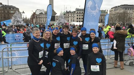 The Blueharts Hockey Club Ladies 4s after they ran the 2018 Cancer Research UK London Winter Run. Pi