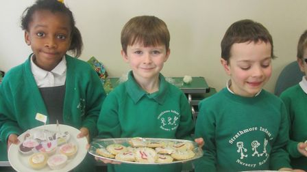 Youngsters at Strathmore Infant and Nursery School with goodies at their Kindness Café. Picture: Str