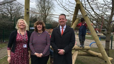 Left to right: Headteacher Lisa Hall, head of infants Vicky Litchfield with Martin Green from Suppor