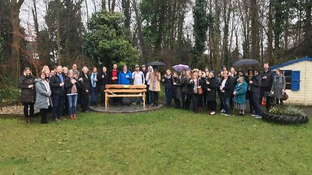 The bench has been placed in memory of Elaine LaRoche, who worked at the nursery for 27 years. Pictu