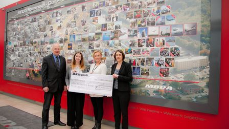 Left to right: Graham MacDonald, Catriona Boyd, Hayley Wessier from St John Ambulance, and MBDA UK