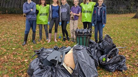 Some of the scouts who took part in the clean-up at Ransom's Recreation Ground in Hitchin. Picture: