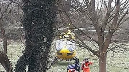 The air ambulance where it landed, in Hitchin's Purwell area. Picture: Lynda Fraser
