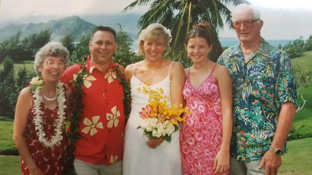 Lynn Oliver from Stevenage during her Hawaii wedding to husband Phil in 2001, when mum Audrey first