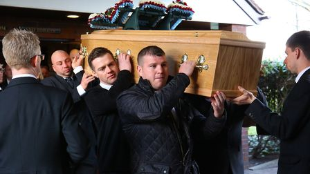 Mourners arrive at the funeral for Stevenage boxing coach Terry Emberson. Picture: Danny Loo