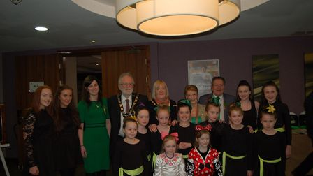 The Grant School of Irish Dancers with Sophie Jacobs from the Irish Embassy, Stevenage mayor's conso