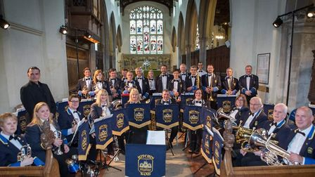 Hitchin Band, which has now achieved championship status, pictured in St Mary's Church. Picture: Hit