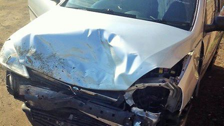 The victim's car after the hit-and-run in Hitchin's Westmill Road. Picture: Supplied