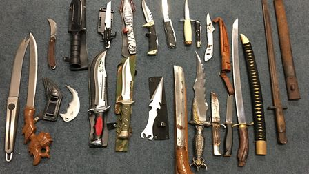 Knives collected at Stevenage police station during the amnesty. Picture: Herts Police