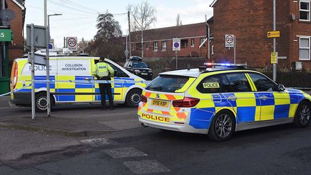 Police on the scene after the collision involving a pedestrian at the corner of Nightingale Road and