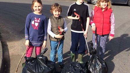 Four young participants in the Ickleford litter pick. Picture: Courtesy of Ray Blake