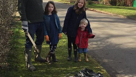The Bunker family during the Ickleford litter pick. Picture: Bunker family