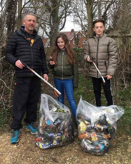 The Harts during the Ickleford litter pick. Picture: Hart family