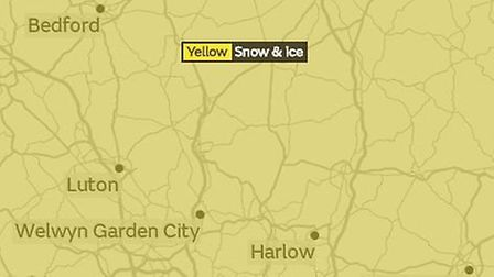 A yellow warning has been issues by the Met Office in Stevenage and North Herts for snow and ice. Pi