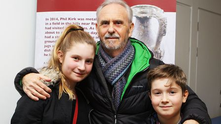 Hitchin's Phil Kirk, who made the initial Kelshall treasure find, with his grandchildren Clemmie Mil